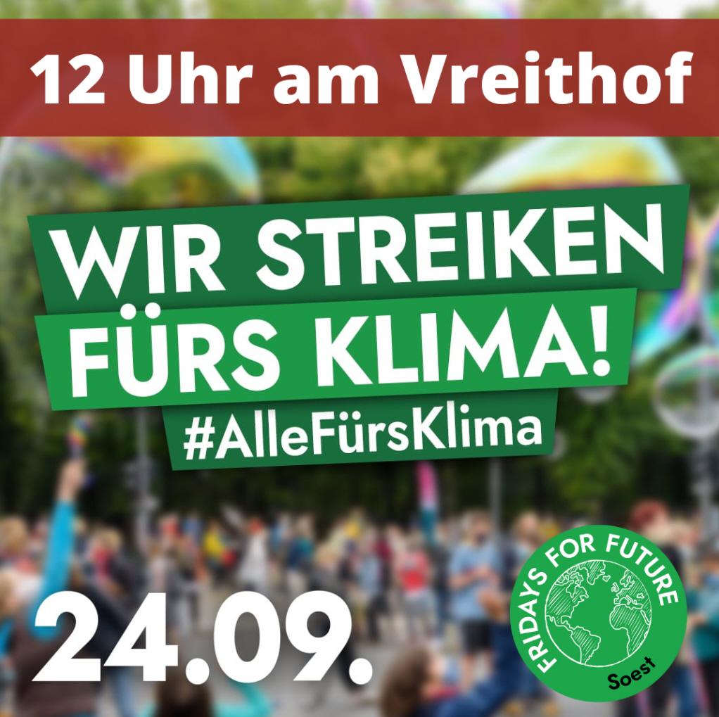 Fridays For Future ruft zum Streik am 24.09. auf – um 12 Uhr auch auf dem Vreithof in Soest